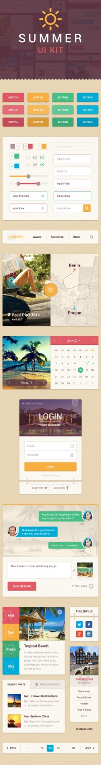 Summer UI Kit - FreebiesXpress