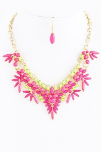 Pink & Lime Spike Necklace | Olivia Taylor