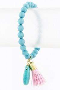 Turquoise & Pink Tassel Bracelet | Olivia Taylor