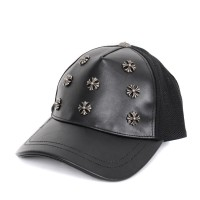 Chrome Hearts Cross Accessories Black Leather Hat Unisex