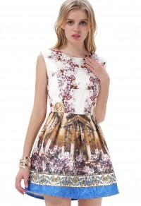 White Contrast Blue Sleeveless Vintage Floral Dress - Sheinside.com