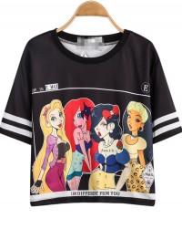 Black Short Sleeve Beauty Print Crop T-Shirt - Sheinside.com