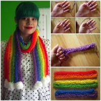 DIY Easy Finger Knitted Scarf