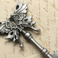 Steampunk Winged skeleton key pendant Art Nouveau by HautTotes