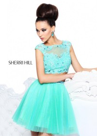Light Green Two Piece Beaded Sherri Hill 21154 Homecoming Dress [Sherri Hill 21154 Light Green] - $209.00 : Prom Dresses 2014, Homecoming Dresses 2014