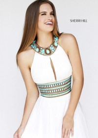 White Halter Neck Keyhole Beaded Chiffon Bridesmaid Dress [Sherri Hill 11086 White] - $198.00 : Prom Dresses 2014, Homecoming Dresses 2014