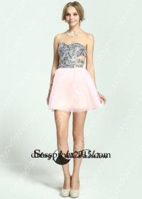 Sexy Side Cutout Sequined Top Strapless Pink Homecoming Dress [SC-02 Pink Homecoming Dress] - $176.00 : Prom Dresses Online, Cheap Dresses for Prom 2015