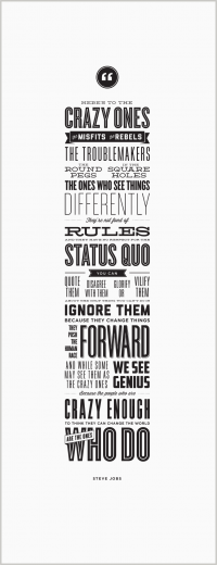 Here's to the Crazy Ones – Letterpress Poster – Steve Jobs on Inspirationde