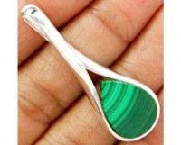 Genuine 925 sterling silver Malachite Pendant
