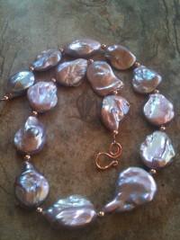 Mauve Metallic Luster Baroque Pearls & Pink Gold - exportingart.com