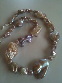 Mauve Bronze Keshi pearls with Amethyst Teardrop - exportingart.com