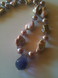 Platinum Mauve Bronze Keshi pearls with Amethyst Teardrop - exportingart.com