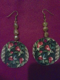 Bronze Floral Fabric Acetate Brown Glass Bead Dangle Earrings - exportingart.com
