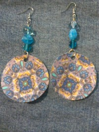 Persian Plum Purple Geometric Fabric Acetate Blue Glass Bead Dangle Earrings - exportingart.com