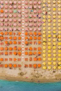 Umbrellas for Miles: Aerial Views of a Colorful Italian Beach Town
