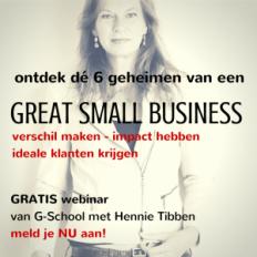 tibbenwerkt.nl – Great small business mentor ontdek dé 6 geheimen van een Great small business - tibbenwerkt.nl - Great small business mentor - leert je alles over verschil maken, impact hebben en ideale klanten krijgen. Binnen de tijd, het budget en op een manier die jou past.