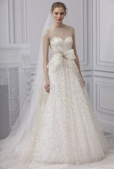 Monique Lhuillier - Spring 2013 - Champagne White and Gold Embroidered Tulle A-Line Wedding Dress with High Neckline and Cap Sleeves | Wedding Dresses Photos | Brides.com