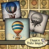 Hot Air Balloons Scrabble Tiles Digital by PassionFruitsImages
