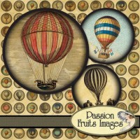 Hot Air Balloons Mini 6 Rounds Steam Punk by PassionFruitsImages