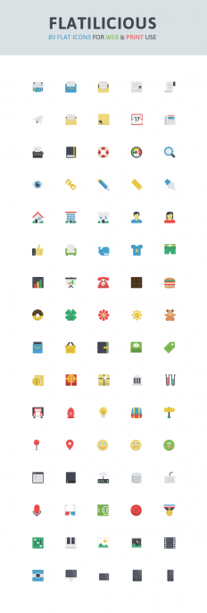 Flatilicious: 80 Free Icons | GraphicBurger
