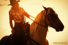 Cowboy Girl Riding Horse Into The Sunset - 54ka [photo blog]