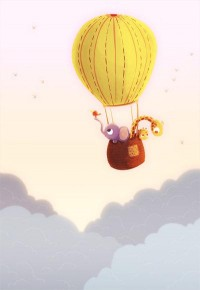 Up and away Giraffe and Elephant Hot Air Balloon Art by nidhi