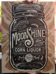 Type / Aldo\'s Tennessee Moonshine Corn Liquor Screen printed Poster