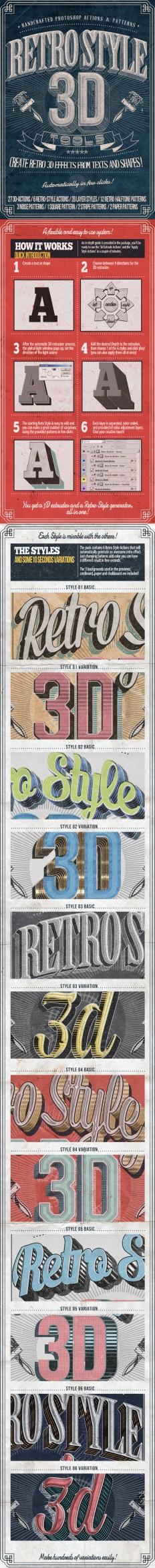 Retro Style 3D Tools – Photoshop Actions on Inspirationde