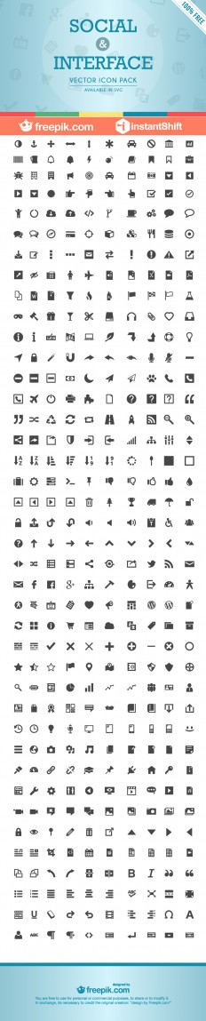 [Freebie] Interfaz Icon Set: 400 Free Social & Interface Icons | InstantShift