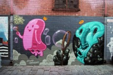 """Summer Bubbles"" Spray paint on concrete, Artist Lane, Melbourne, Australia on Inspirationde"