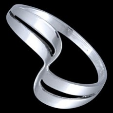 Elegant Fine Silver Wave Ring