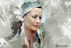 Portrait painting of beautiful girl - Figure Drawing by Dimitar Hristov - 54ka