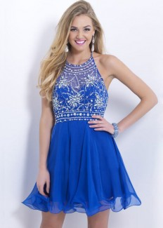 Royal Blue Blush 9882 Halter Neck Beaded Short Homecoming Dress [Blush 9882 Royal Blue Homecoming Dress] - $169.00 : Homecoming Dresses 2014,Homecoming Dresses outlet,Cheap Prom Dresses,Prom dresses 2015