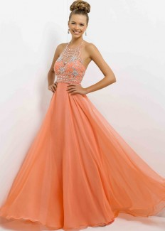 Long Beaded Halter Straps Low Cut Back Coral Prom Dress 2015 [Blush 9723 Coral] - $186.00 : Buy Cheap Prom Dresses Online,Homecoming Dresses For 2015