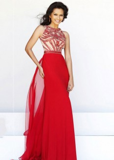 Sparkling High Neck Red Nude Beaded Chiffon Evening Gown [Sherri Hill 11069 Red Nude] - $225.00 : Buy Cheap Prom Dresses Online,Homecoming Dresses For 2015
