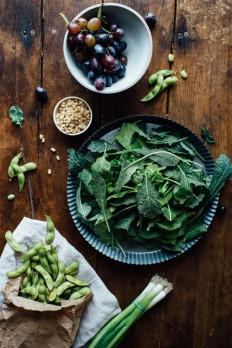Photography / Warm Sautéed Grapes, Autumn Kale Edamame Salad w/Shiso Vinaigrette