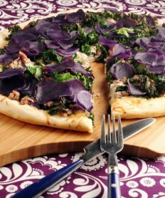 Purple Potato Pizza with Sausage and Kale | I Wanna Nom