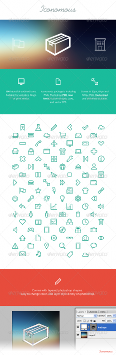 Iconomous - 100 Outlined Icons | GraphicRiver