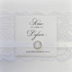 Layered Luscious Lace Square Vertical Invitation in White - Wedding Invitations