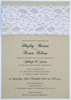 Layered Rustic Glamour 5x7 Vertical Flat Invitation in White - Wedding Invitations