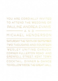 Metallic Pauline 5x7 Vertical Invitation Foiled 2 sides - Wedding Invitations
