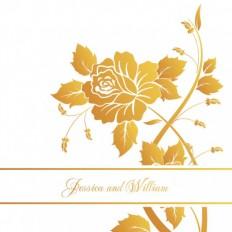 Metallic English Rose Square Vertical Invitation - Wedding Invitations