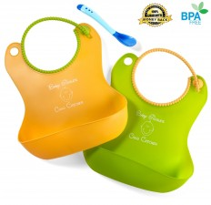 Amazon.com : Baby Bibs - Cute Baby Bibs for Boys and Girls - Free Bonus Silicone Feeding Spoon - The Crud Catcher Baby Bib Is Soft, Waterproof, and Flexible - Your Easy Solution to Messy Clean up - Lifetime Guarantee : Baby