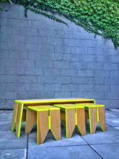 Design and Wood Works / Stack Stools with Stack Bench by Kahokia Design, Brooklyn, NY.
