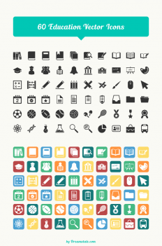 Freebie: 60 Education Vector Icons - Dreamstale
