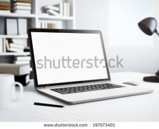 Laptop In White Room Stock Photo 197073401 : Shutterstock