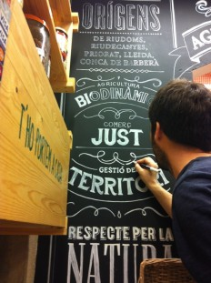 "Mural ""El Maset"" – Handmade and design lettering for a ecological food shop. on Inspirationde"