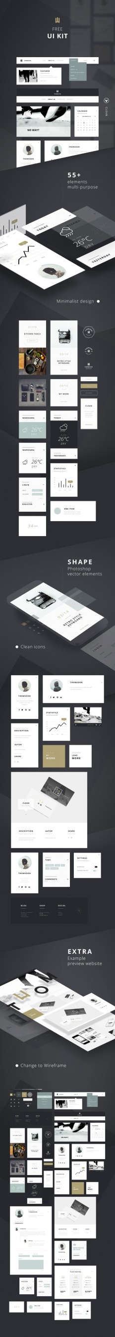 55+ Elements FREE UI KIT | Clean white [DOWNLOAD] on Inspirationde