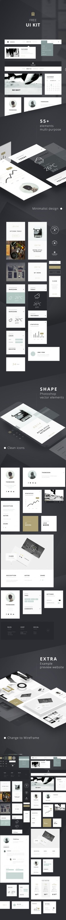 55+ Elements FREE UI KIT | Clean white [DOWNLOAD] on