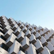 Hundreds of cubes front Julien De Smedt's Gangnam housing